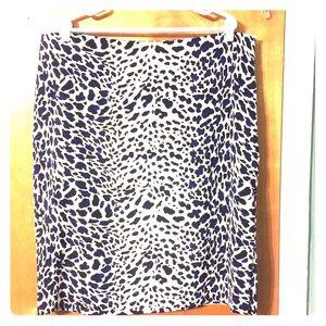 Worthington blue/black leopard side split skirt